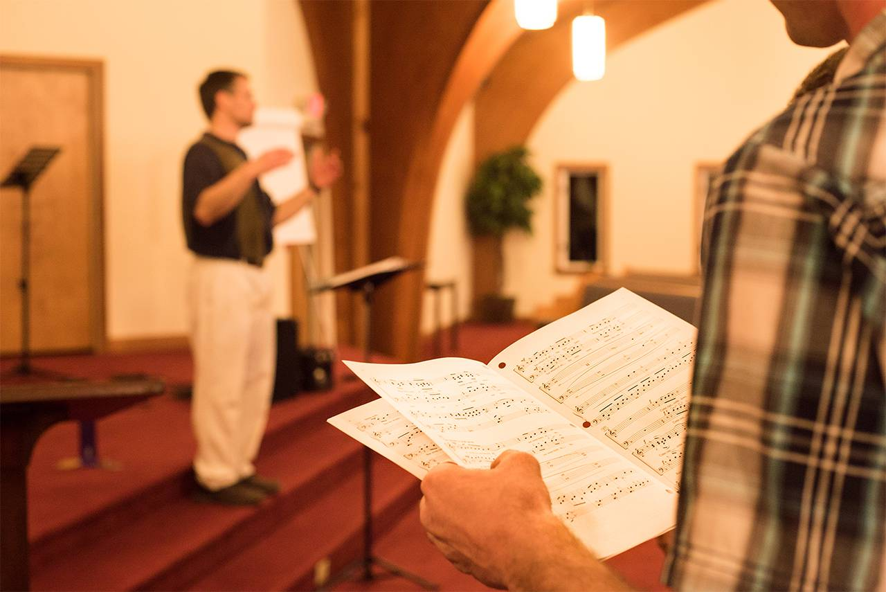 Sheet music from a program at a Community Choir practice